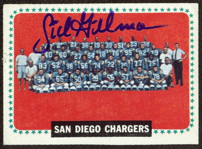 autographed 1964 topps chargers team