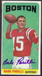 autographed 1965 topps babe parilli