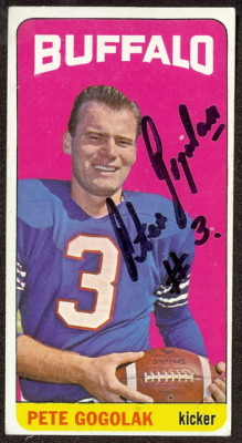 autographed 1965 topps pete gogolak