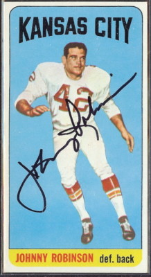 autographed 1965 topps johnny robinson
