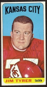 autographed 1965 topps jim tyrer