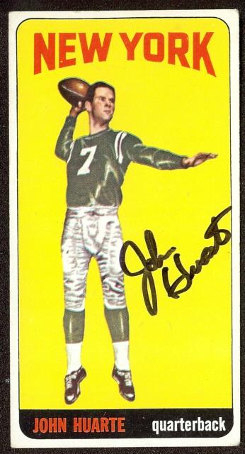 autographed 1965 topps john huarte
