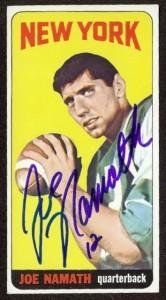 autographed 1965 topps joe namath