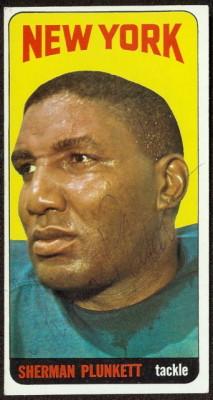 autographed 1965 topps sherman plunkett