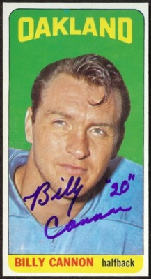 autographed 1965 topps billy cannon