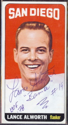 autographed 1965 topps lance alworth