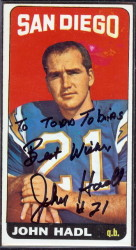 autographed 1965 topps john hadl