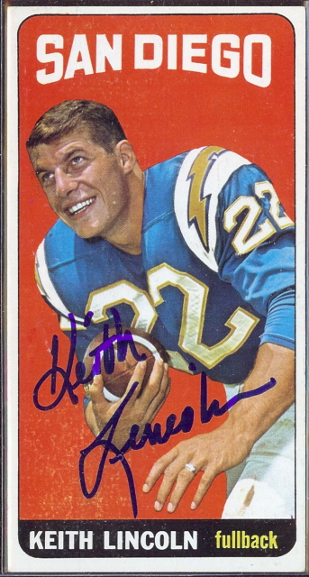 autographed 1965 topps keith lincoln