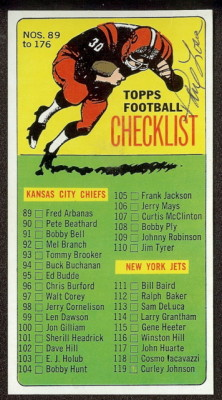 autographed 1965 topps checklist