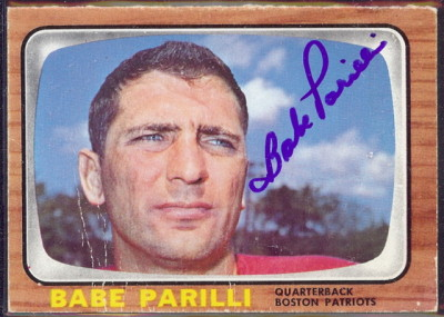 autographed 1966 topps babe parilli