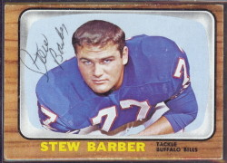 autographed 1966 topps stew barber