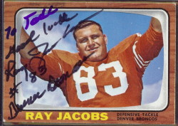 autographed 1966 topps ray jacobs