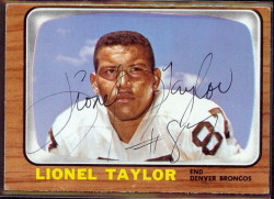 autographed 1966 topps lionel taylor