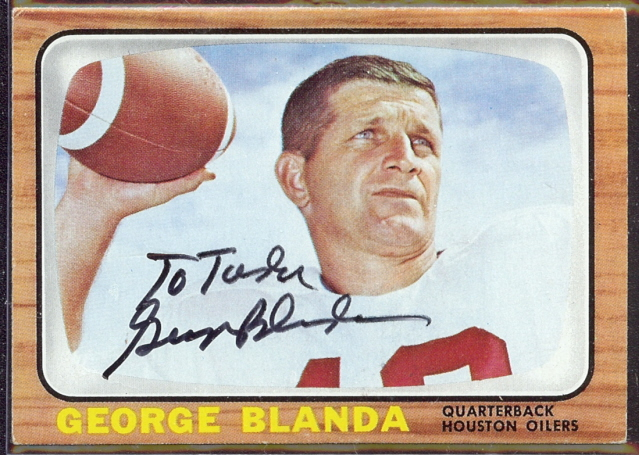 autographed 1966 topps george blanda