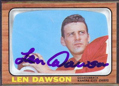 autographed 1966 topps len dawson