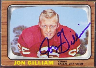 autographed 1966 topps jon gilliam