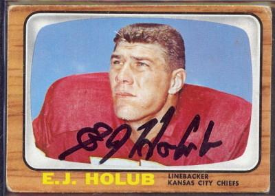 autographed 1966 topps e.j. holub