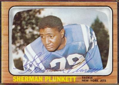 autographed 1966 topps sherman plunkett