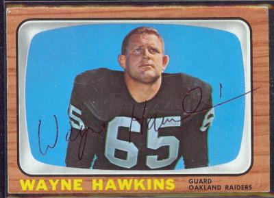 autographed 1966 topps wayne hawkins