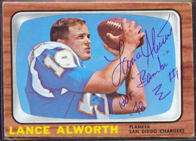 autographed 1966 topps lance alworth
