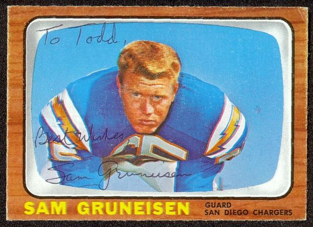 autographed 1966 topps sam gruneisen