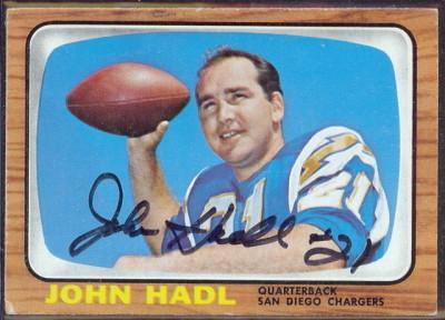 autographed 1966 topps john hadl