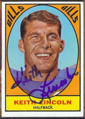 autographed 1967 topps keith lincoln