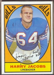 autographed 1967 topps harry jacobs