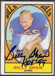autographed 1967 topps billy shaw