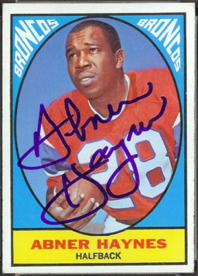 autographed 1967 topps abner haynes