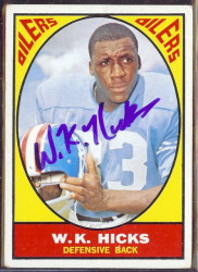 autographed 1967 topps wk hicks