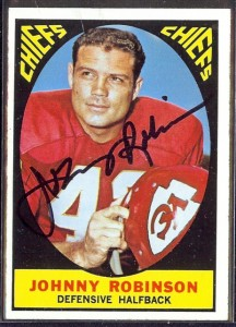 autographed 1967 topps johnny robinson