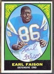 autographed 1967 topps earl faison