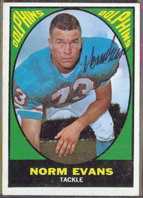 autographed 1967 topps norm evans