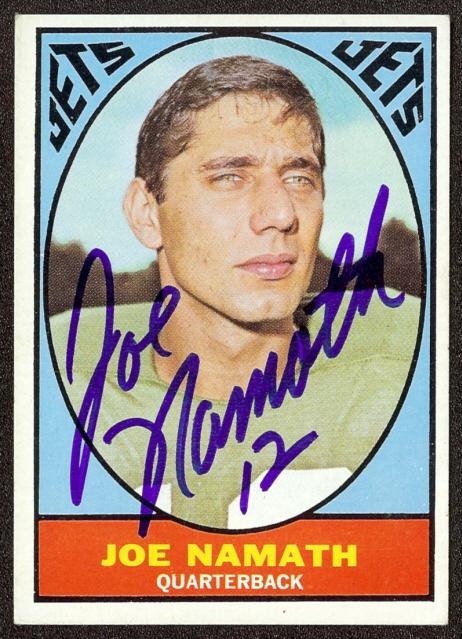 autographed 1967 topps joe namath