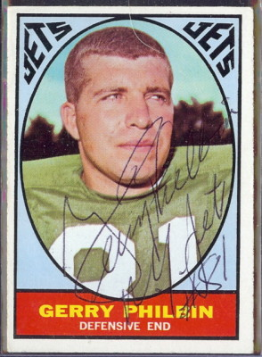 autographed 1967 topps gerry philbin