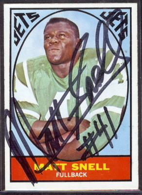 autographed 1967 topps matt snell