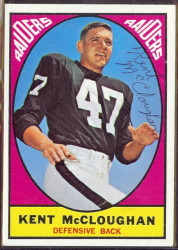 autographed 1967 topps kent mccloughan