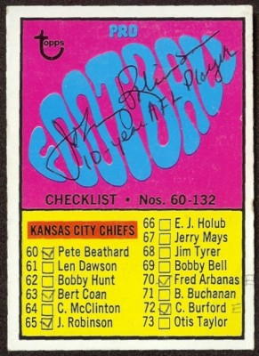 autographed 1967 topps checklist
