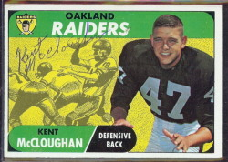 autographed 1968 topps kent mccloughan
