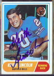 autographed 1968 topps keith lincoln