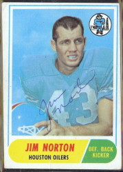 autographed 1968 topps jim norton