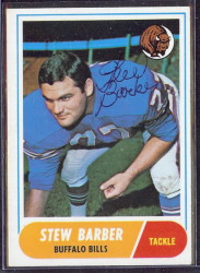 autographed 1968 topps stew barber