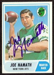 autographed 1968 topps joe namath