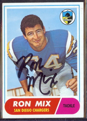autographed 1968 topps ron mix