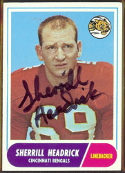 autographed 1968 topps sherrill headrick