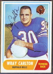 autographed 1968 topps wray carlton