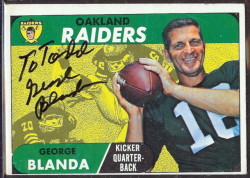 autographed 1968 topps george blanda