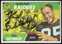 autographed 1968 topps fred biletnikoff