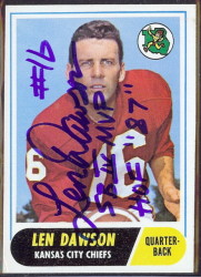 autographed 1968 topps len dawson